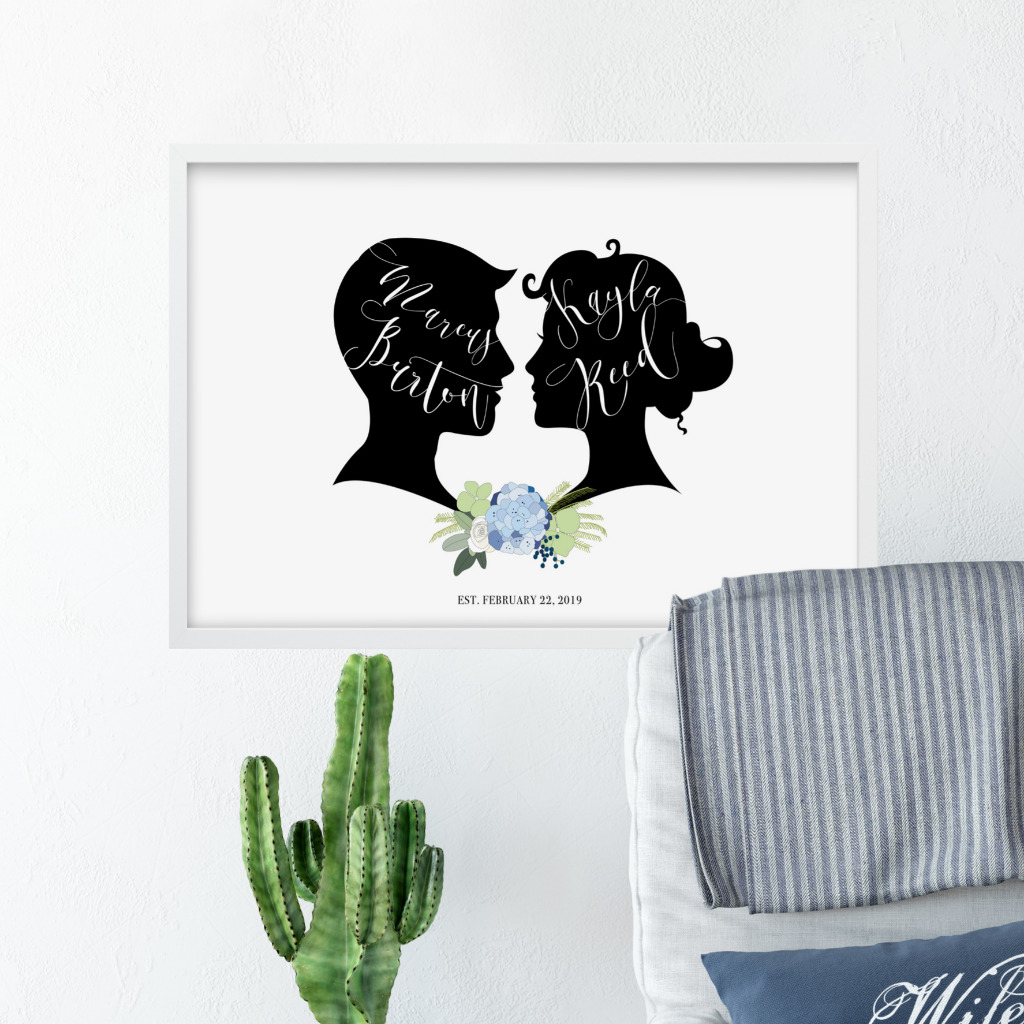 Use your own silhouettes to create a beautiful custom piece for your wedding. Use as a wedding welcome sign or guest book alternative