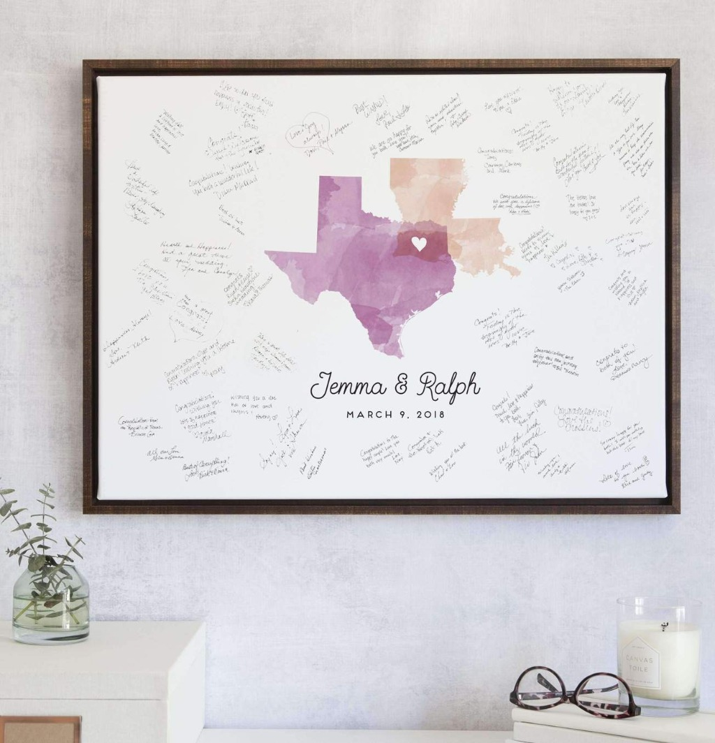 If you're looking for a meaningful and sentimental guest book, the Wedding Guest Book Alternative with Watercolor Map from Miss Design