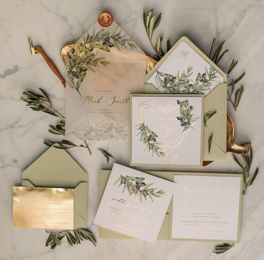 Wedding invitations with gold and olives