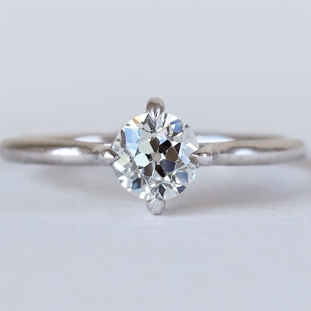 Hello Gorgeous! Antique Old European Cut Diamond + Recycled Platinum = the finest handmade solitaire 💫💙