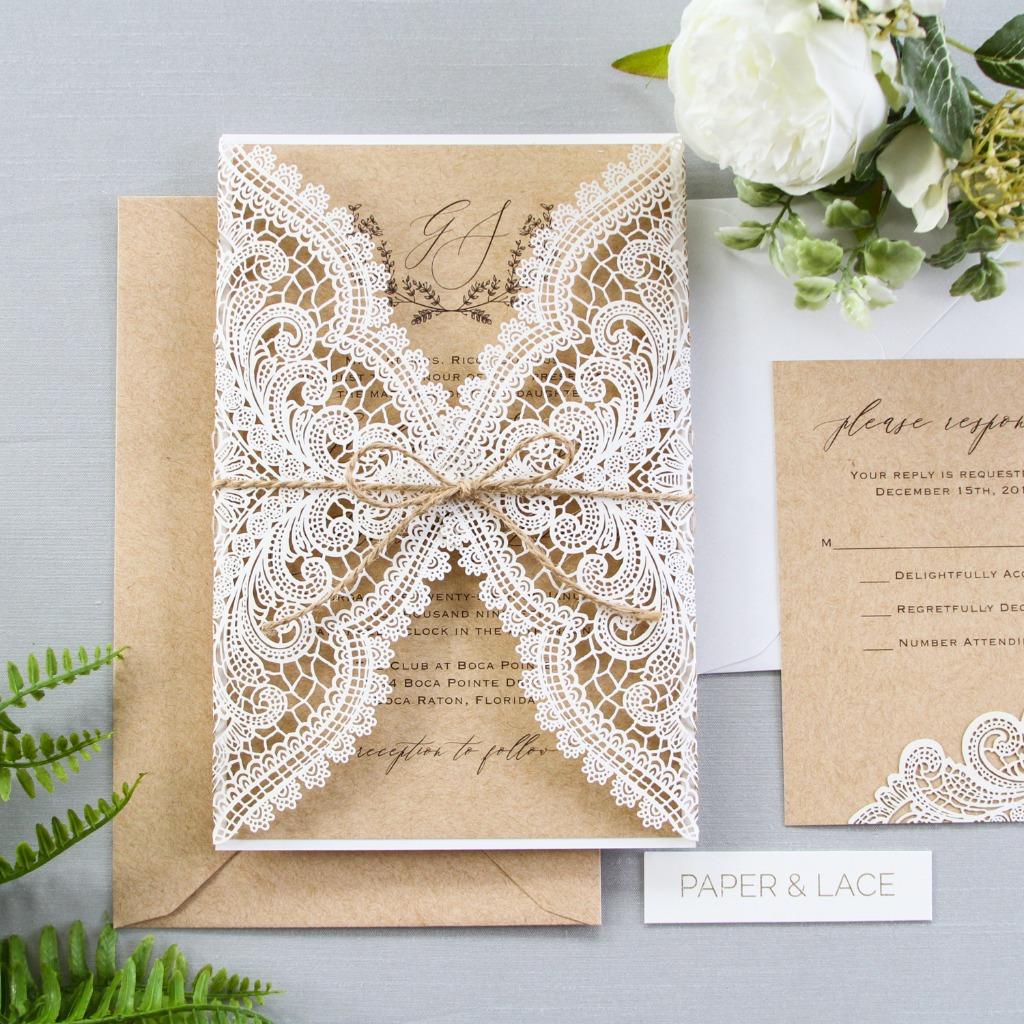 Love this rustic lace look using the ivory laser-cut gatefold invitation tied with twine. Check out the customization options in our