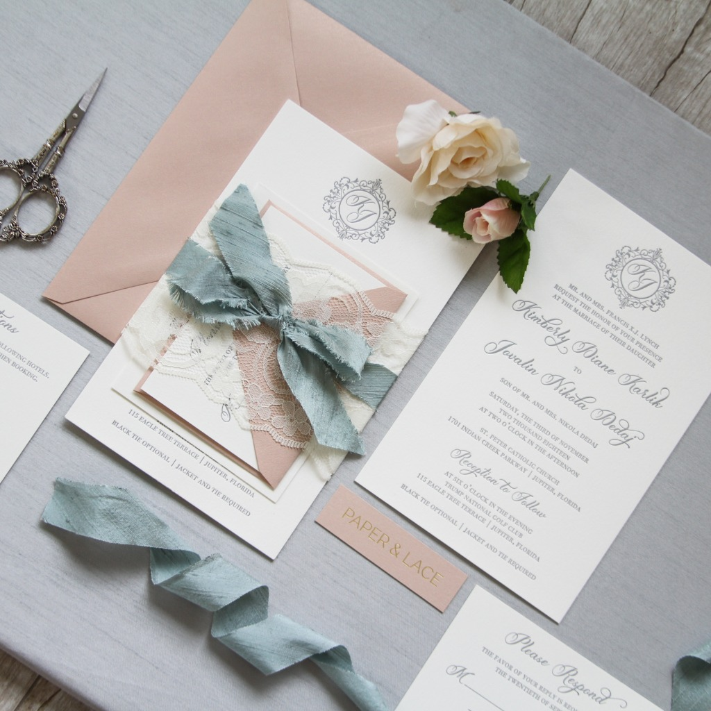 Lace, silk ribbon and a monogram - layers of romantic beauty in these custom invitations. ❤️