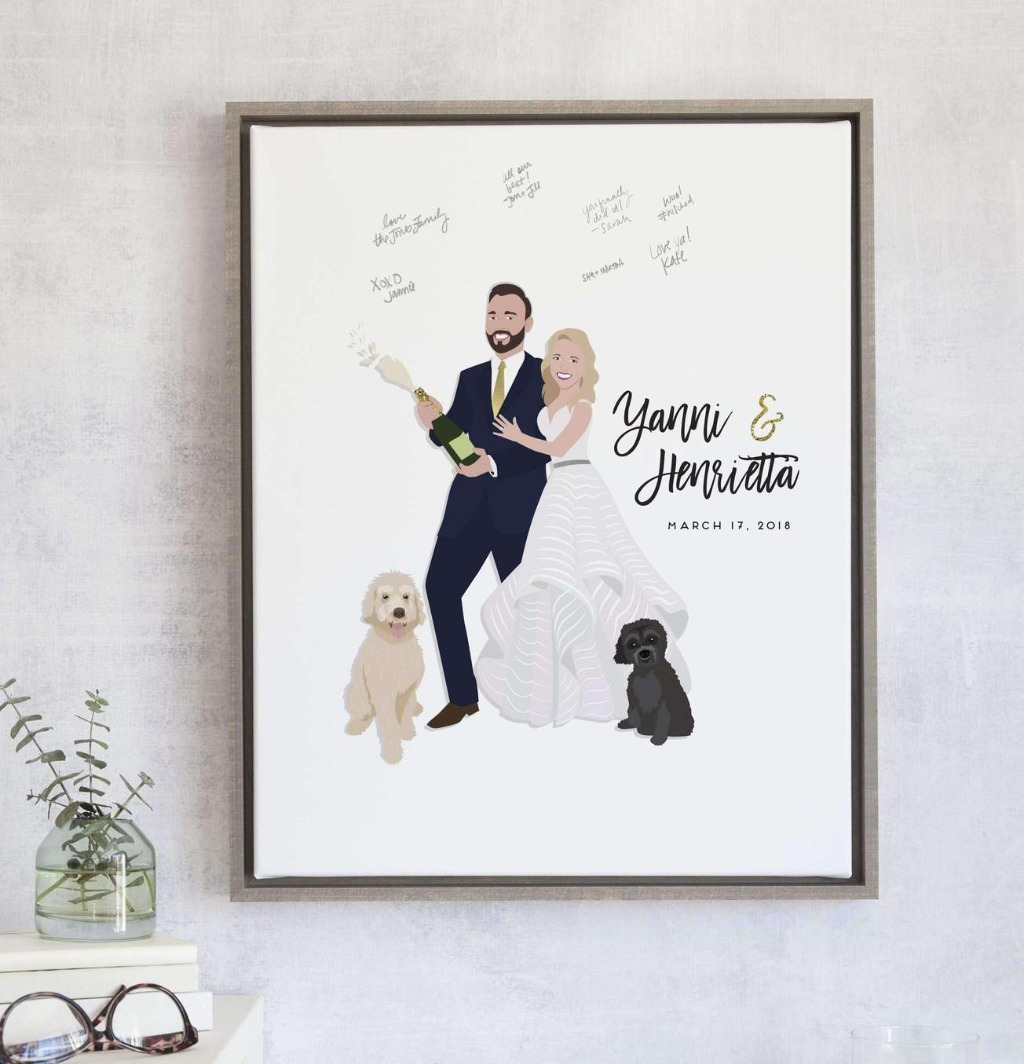 Pop the bubbly on your big day with this Wedding Guest Book Alternative with Couple Popping Champagne from Miss Design Berry!!