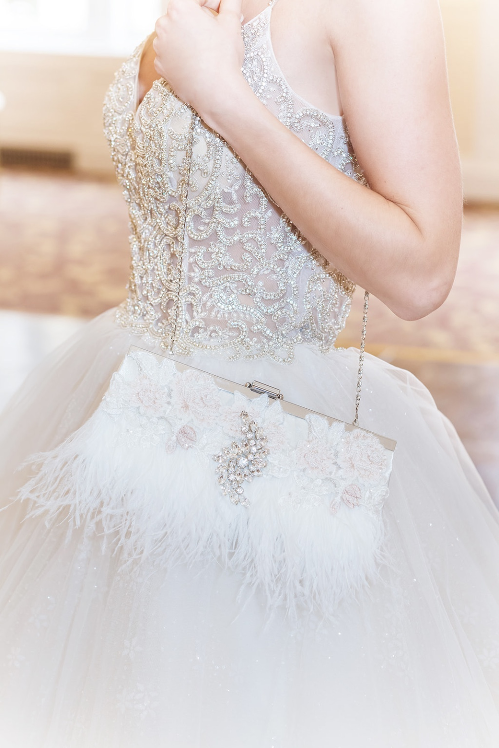 Dreamy one of a kind ostrich feather bridal clutches.