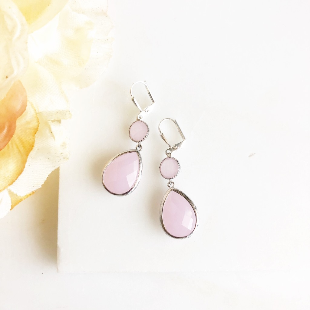 Soft Pink Glass Drop Earrings in Silver.