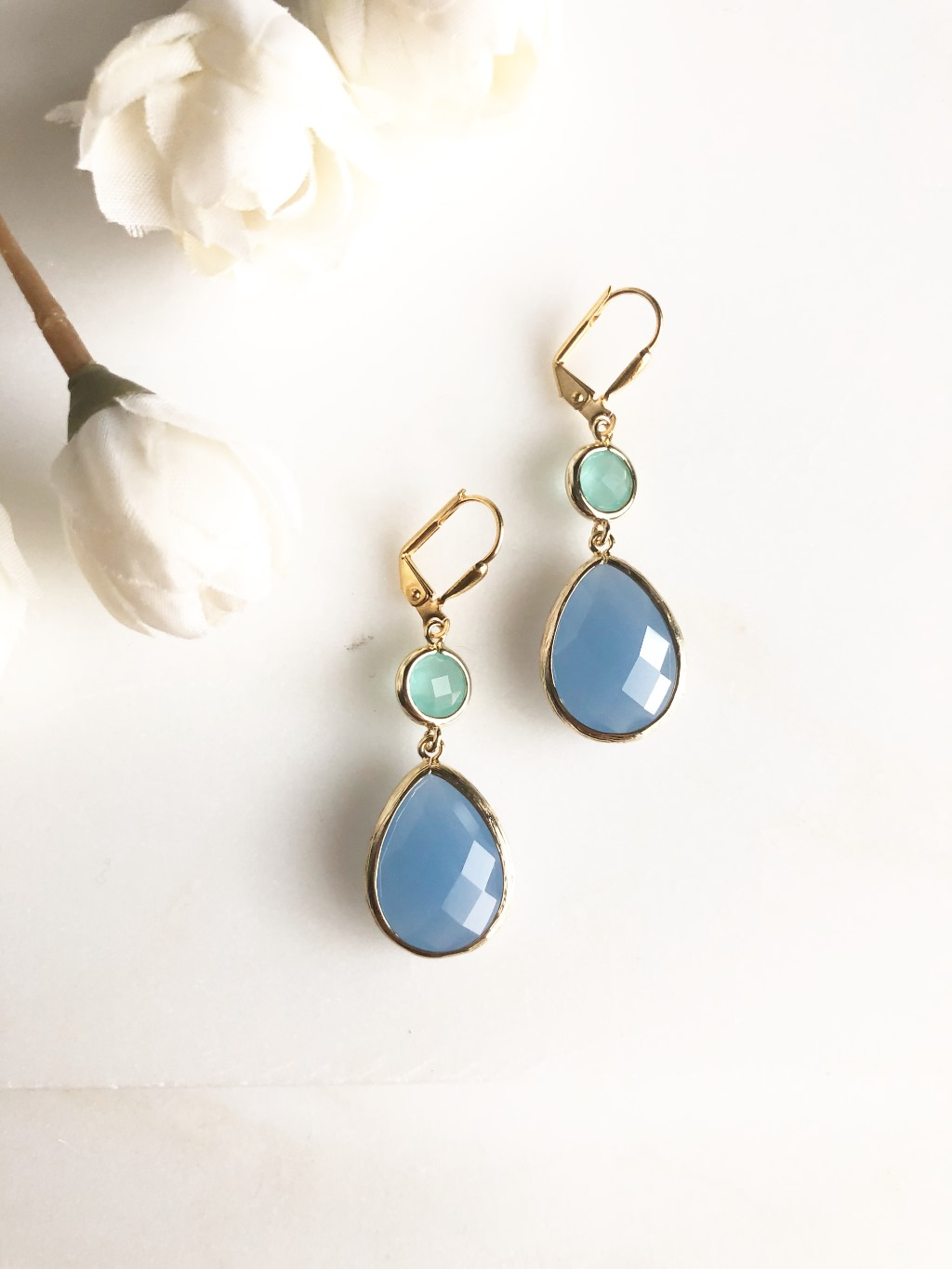 eriwinkle and Aqua Glass Bridal Earrings. A Great Bridesmaid Gift!