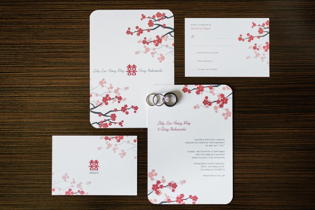 Our bride wanted to incorporate the double happiness symbol to represent her culture in the invitation, and we love the way it turned