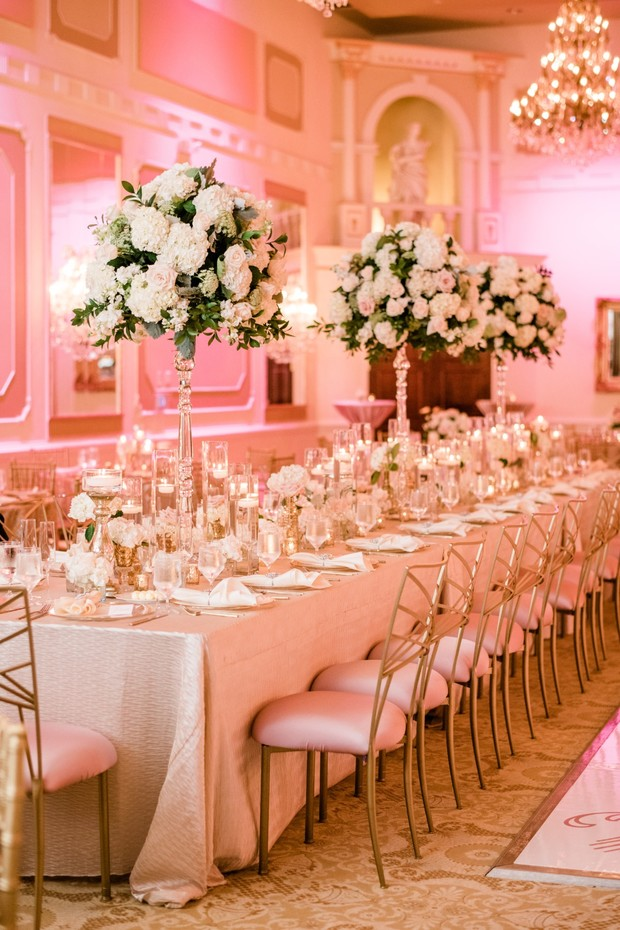 gold and blush reception table design