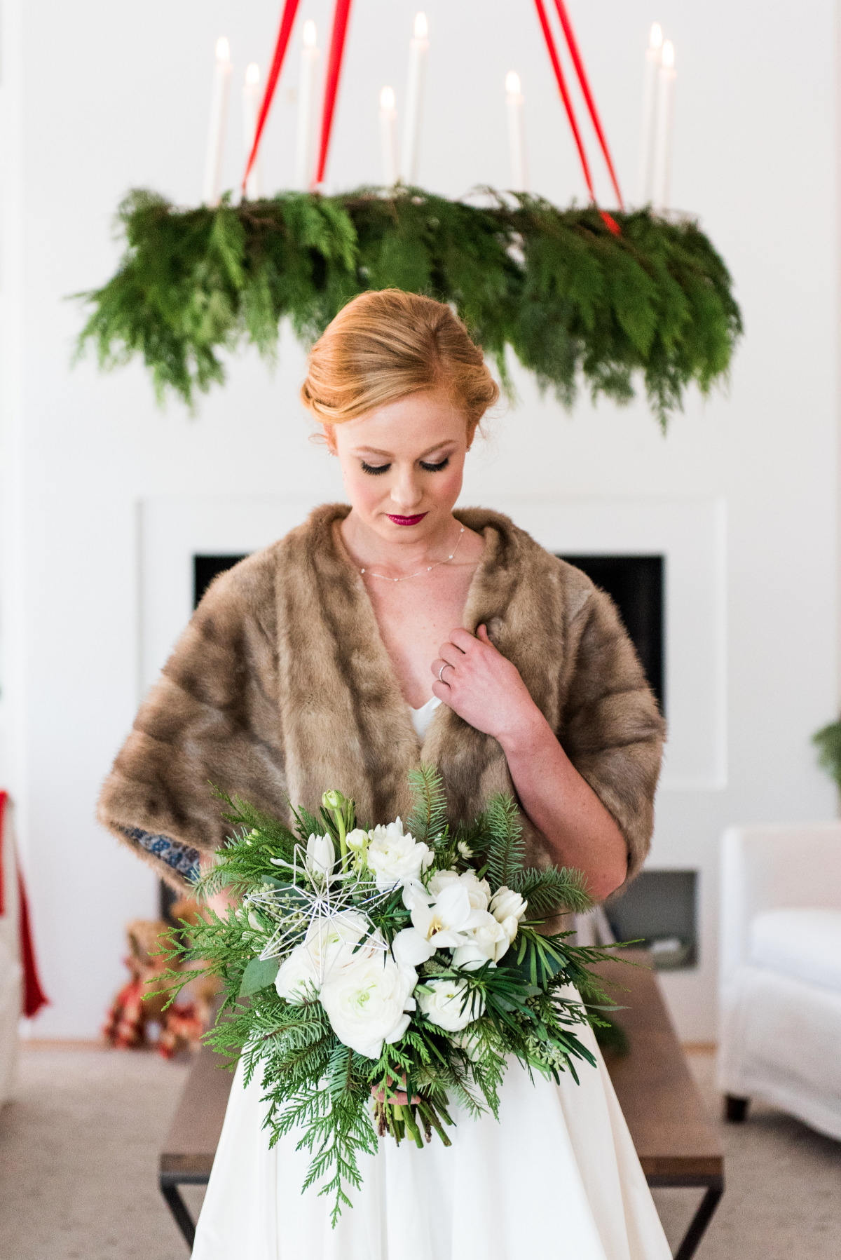 Winter wedding bridal look