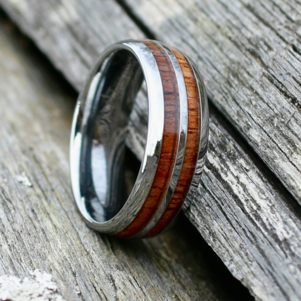 Men silver wood barrel wedding ring. This wood wedding ring is also available in black.