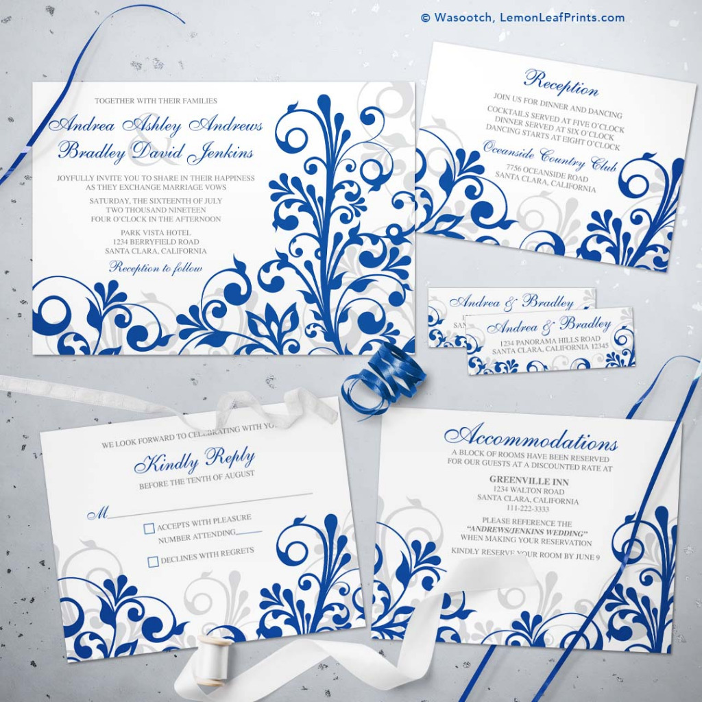 Bold royal blue and white abstract floral wedding invitation set that is perfect for a spring or summer wedding with a royal blue and