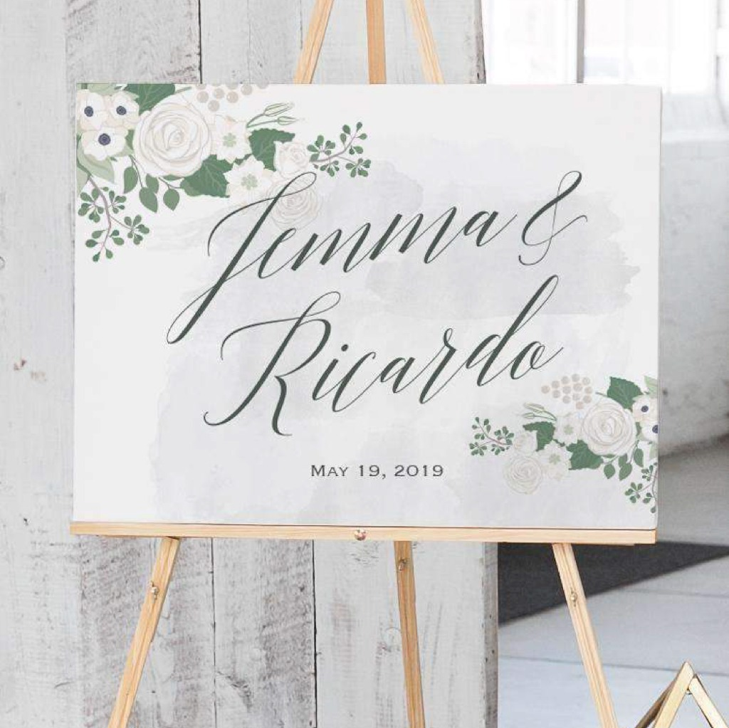 If you love The Fleur Portrait Guest Book Alternative, you'll LOVE the matching Welcome Sign! This design is only available for a limited
