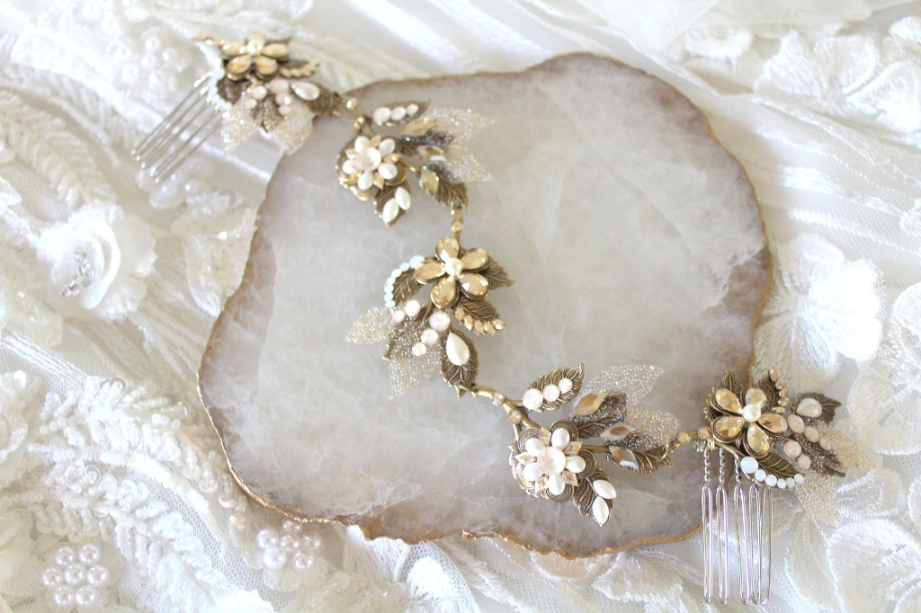 Handcrafted Antique gold Bridal hair vine headpiece is created completely by hand and studded with layers of Swarovski crystals and