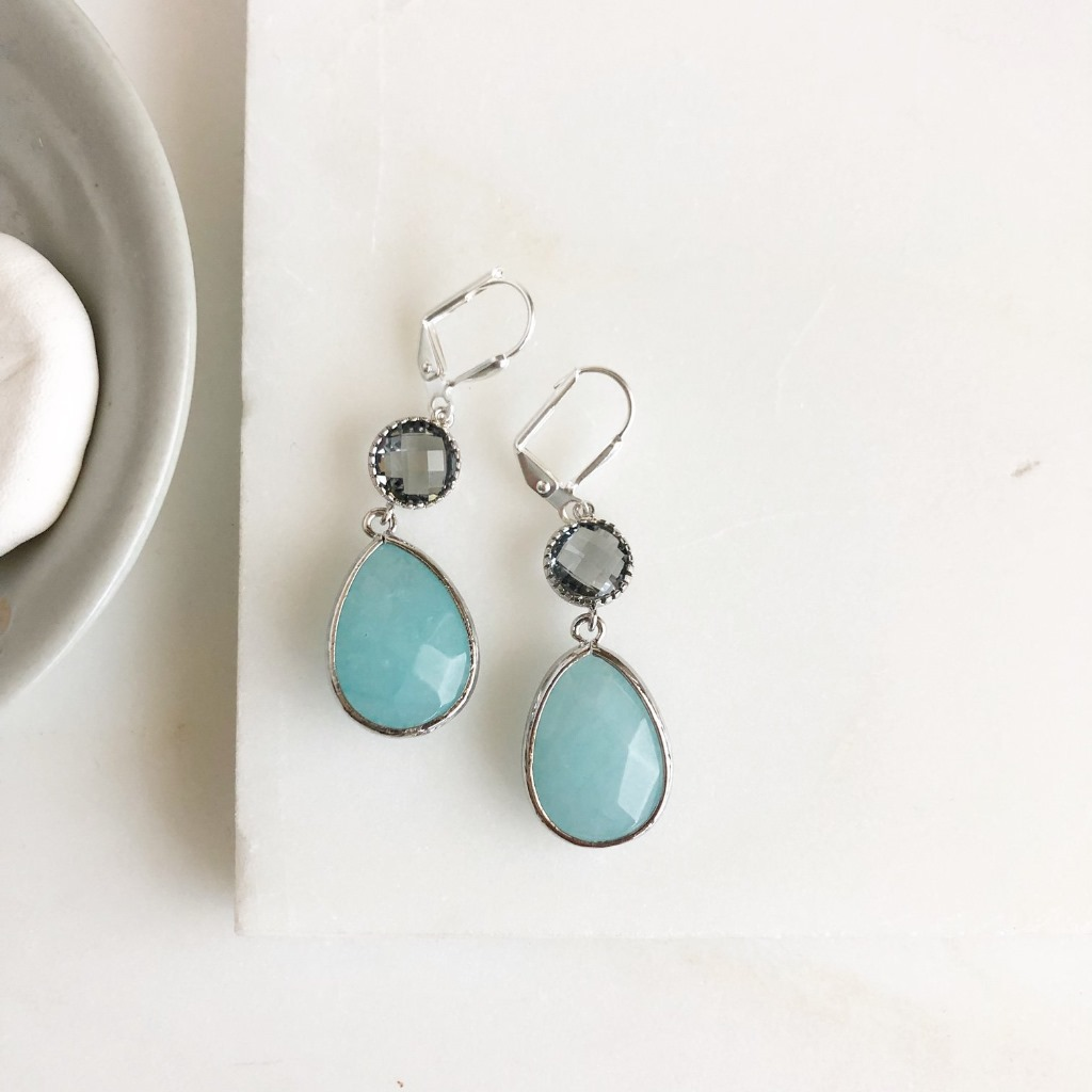 SALE Charcoal and Blue Glass Drop Earrings in Silver.