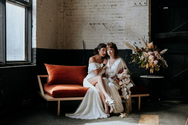 brides on a couch