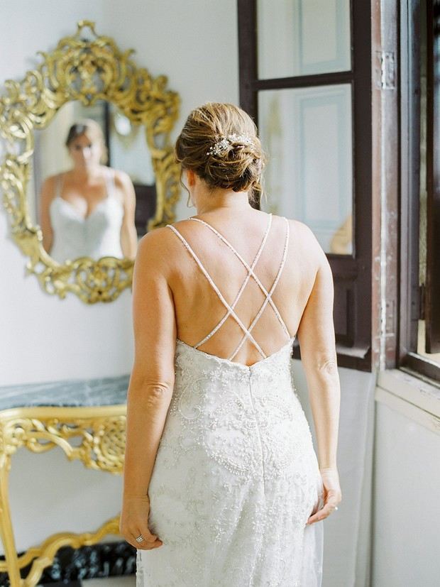 Cross back wedding dress from Casablanca Bridal