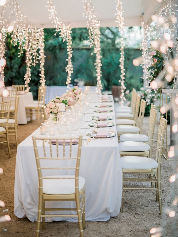 Romantic tent wedding reception