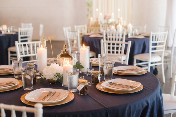 navy white and gold wedding table decor