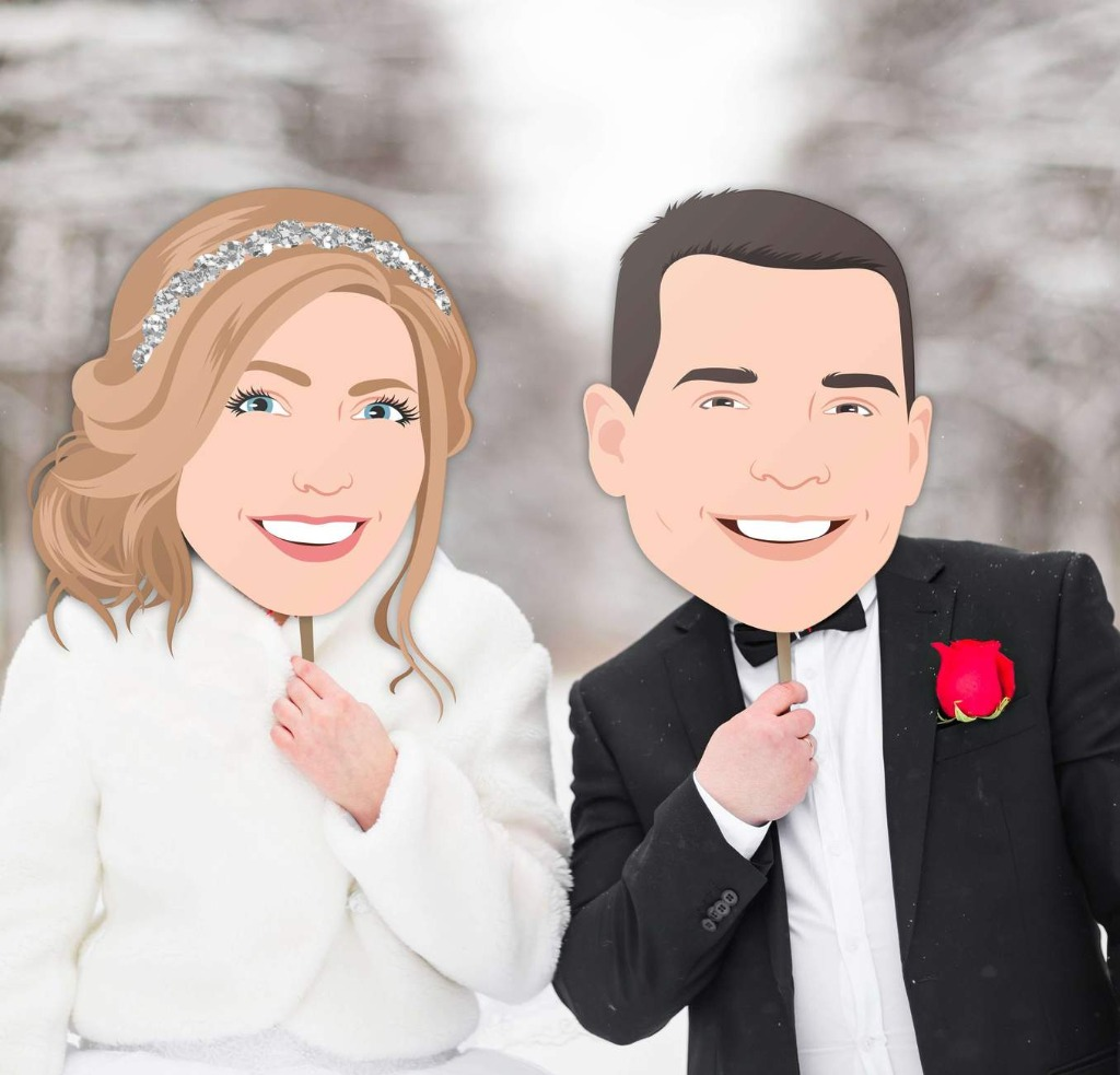 If you're looking to add some fun to your wedding day reception, these Big Head Portrait Photo Props are the perfect way to do it!