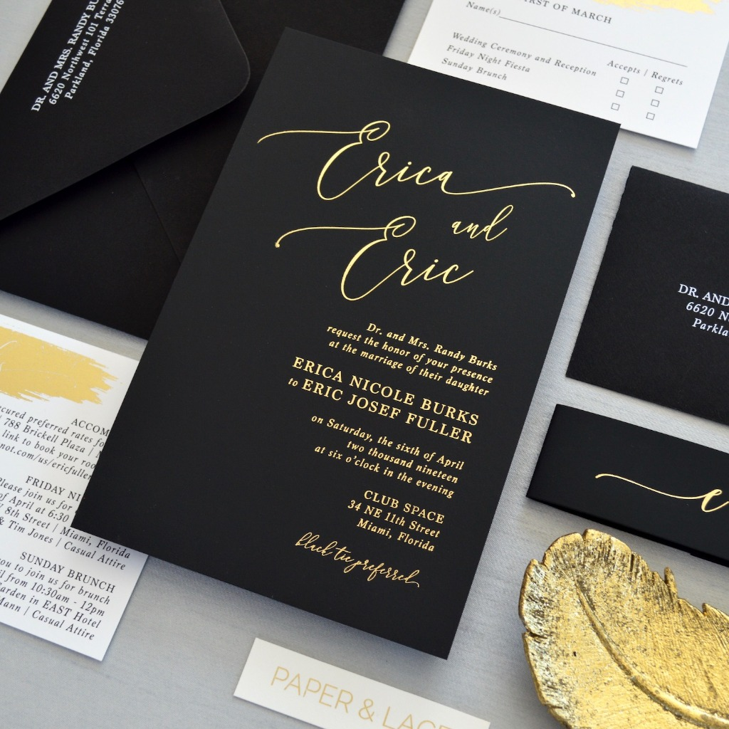 Nothing says classic black tie wedding like these elegant black and gold invitations with gold foil stamping.