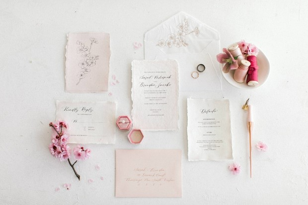 raw edge wedding invitation suite