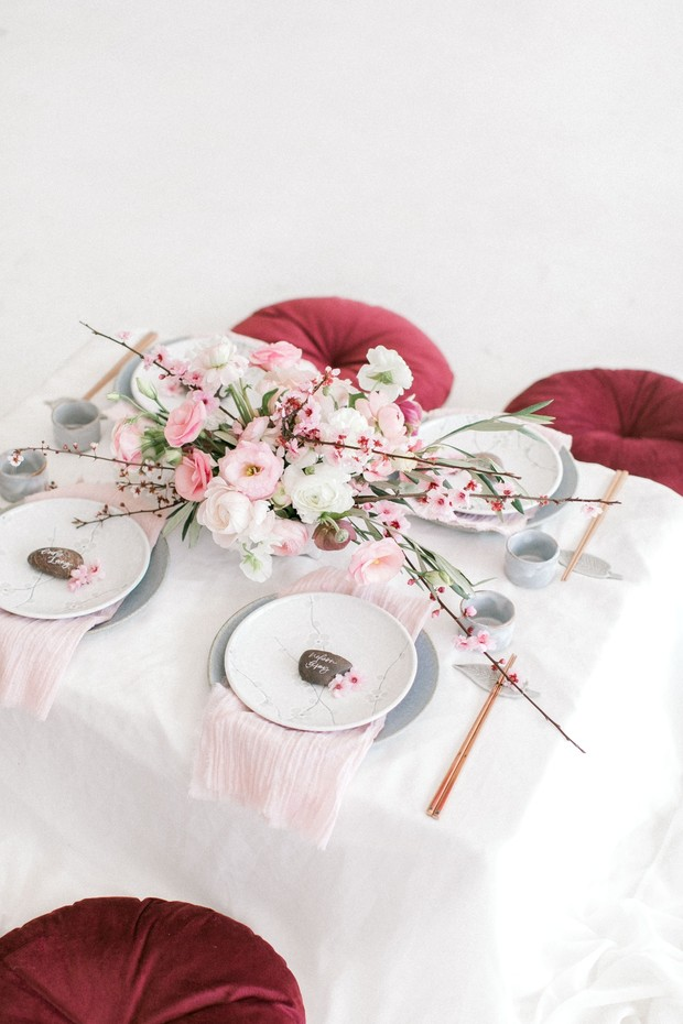Cherry blossom wedding centerpiece