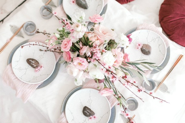 pink spring reception table design