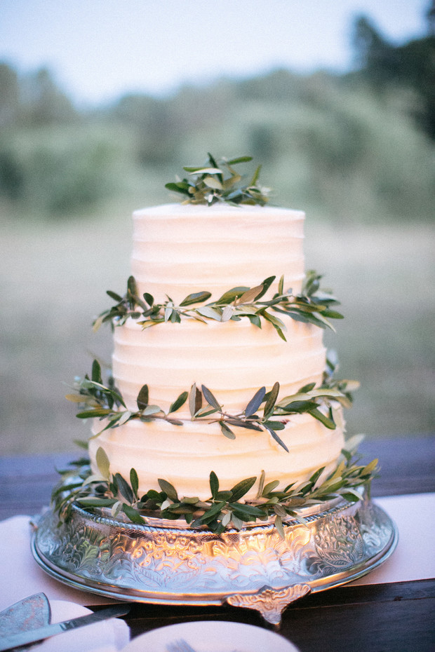 olive branch accented wedding cake