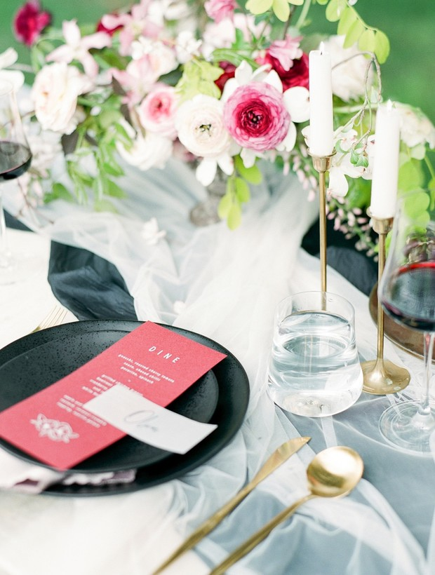 Black and red wedding decor