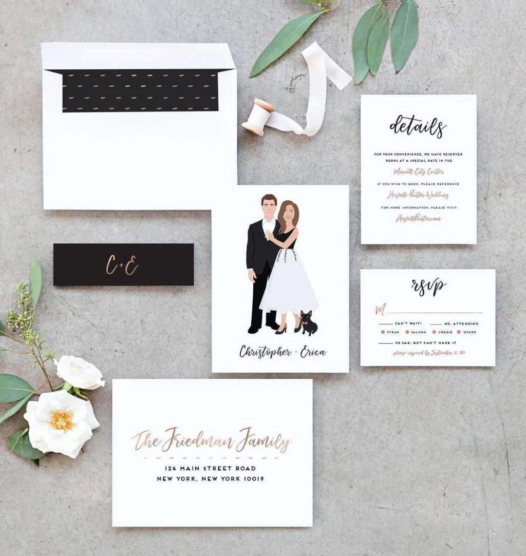 If you're on the hunt for a unique invitation suite, the Penny Portrait Wedding Invitation Suite from Miss Design Berry is perfect