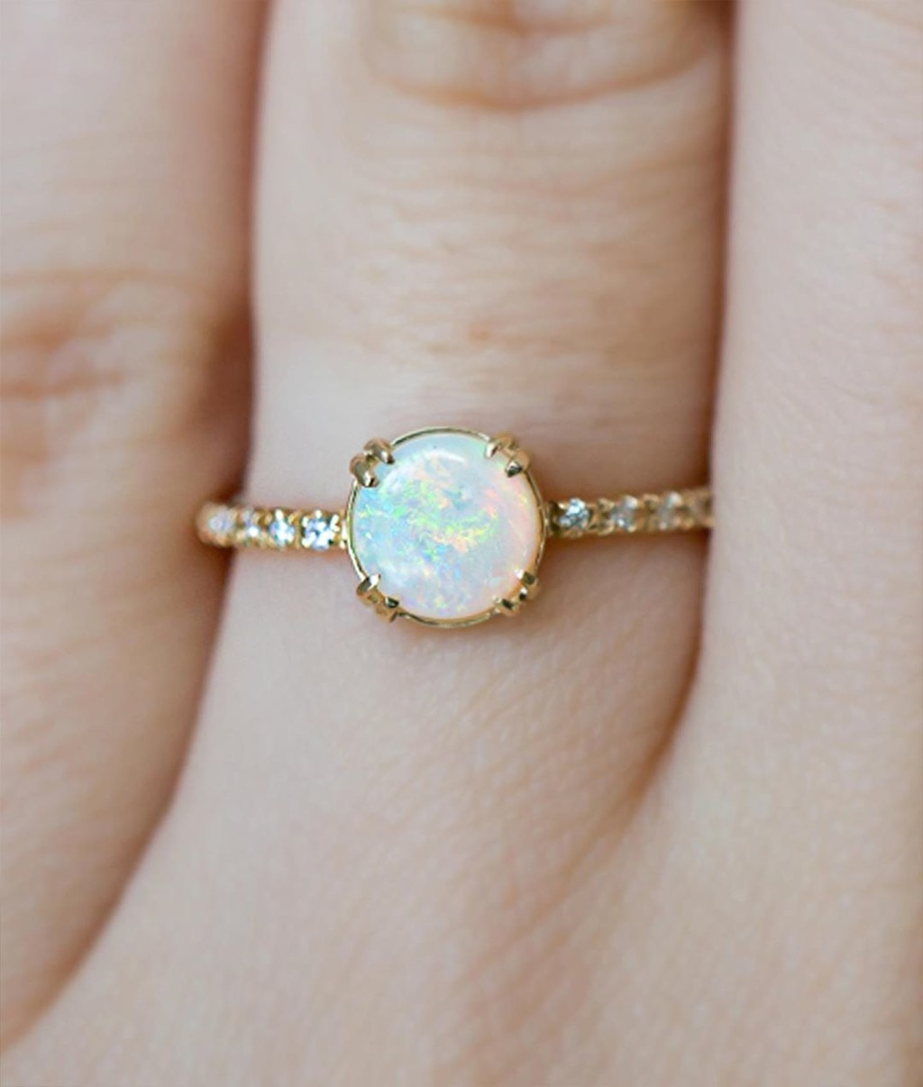 🌈 Natural 6mm Round Australian Opal in Recycled Gold with Canadian Mined diamonds! Feeling Colorful Springtime Vibes today! Link