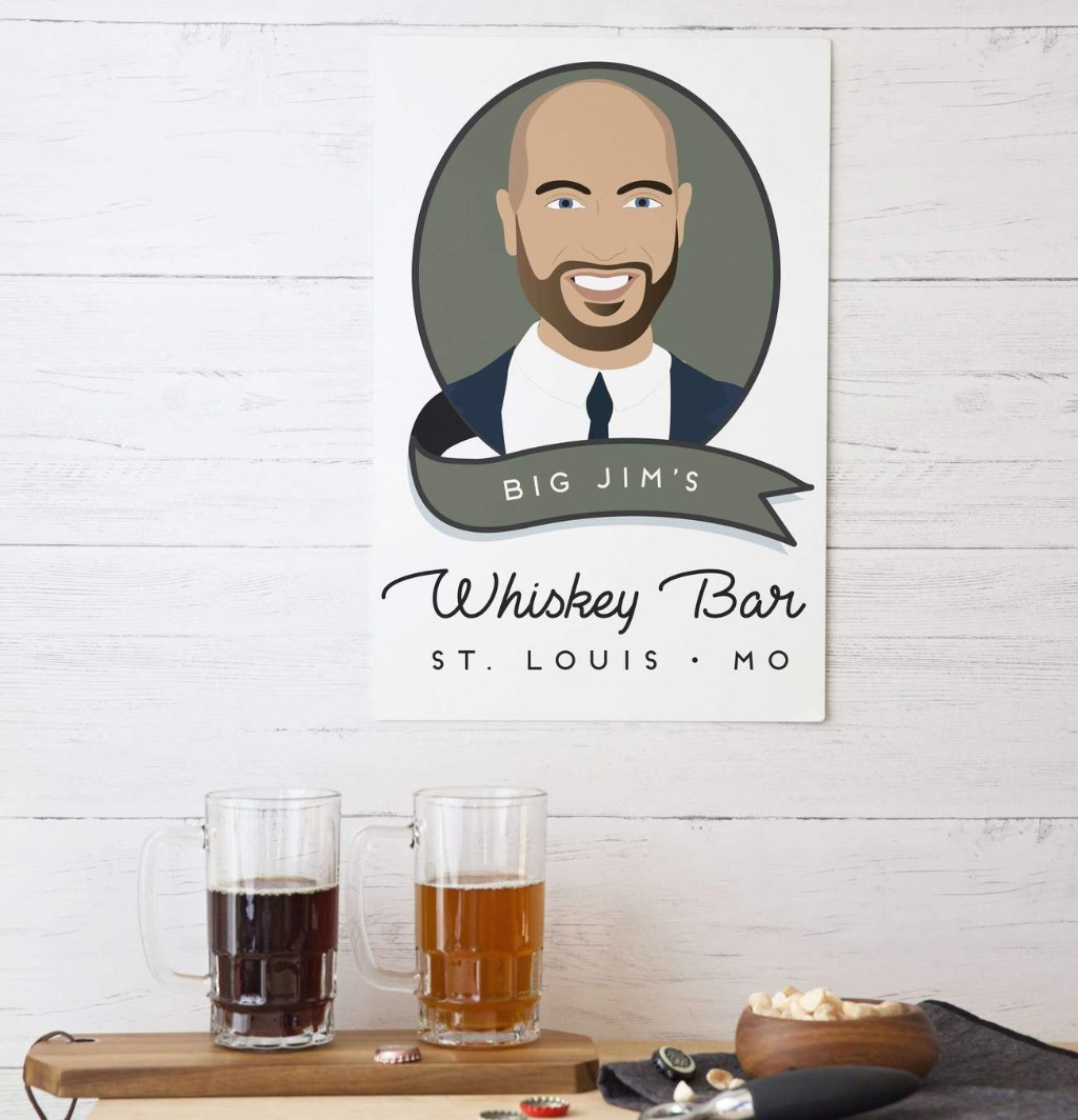 If your groomsmen are looking to up the look of their home bar, this Custom Portrait Aluminum Sign is perfect!! Get matching Beer Mugs