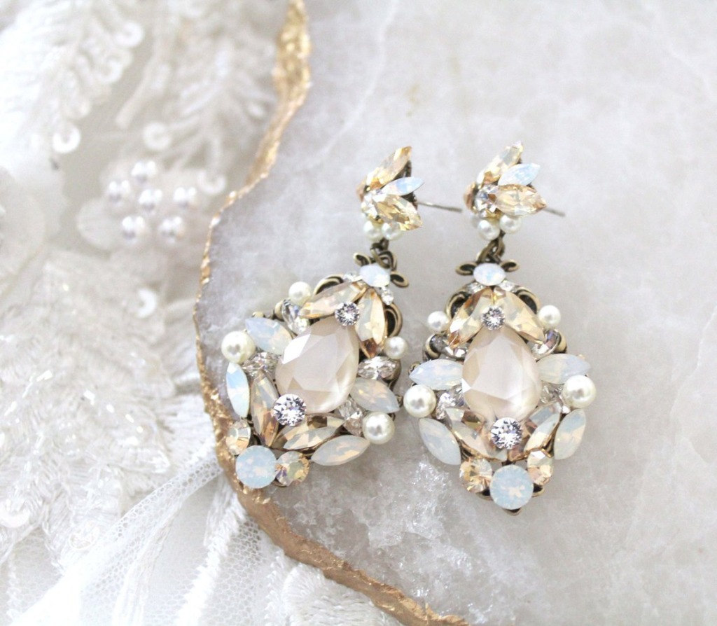 Vintage style Swarovski crystal earrings crafted in my studio with layers of Swarovski crystal in different finishes for an amazing