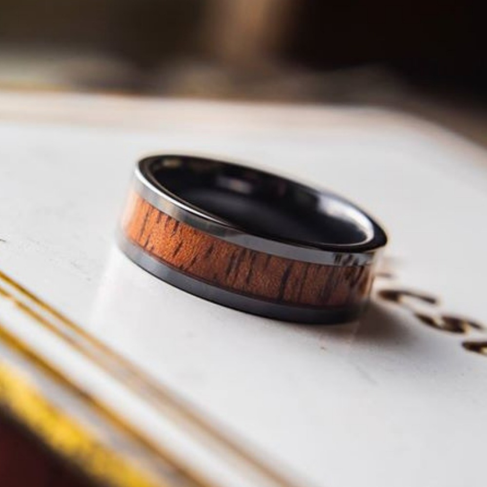 Mens wood wedding ring with a high tech ceramic core. This wooden ring is available in widths 6mm and 8mm. If your future husband wants