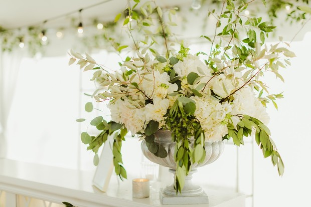 oversized white and green floral arrangements