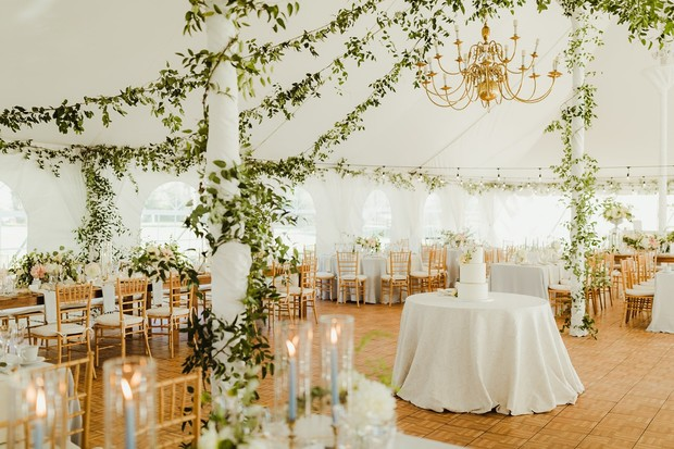 glamorous white and gold tented reception