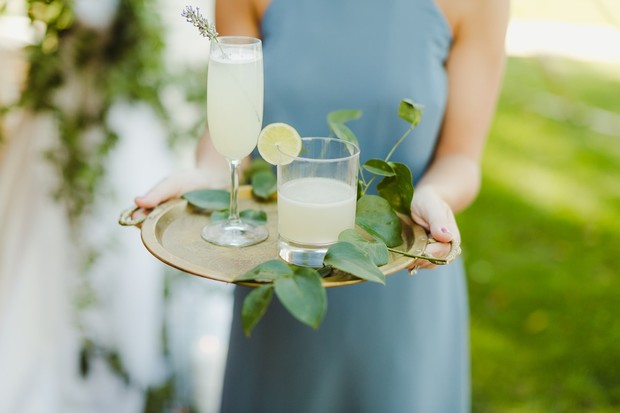 Lavender french 75 cocktails