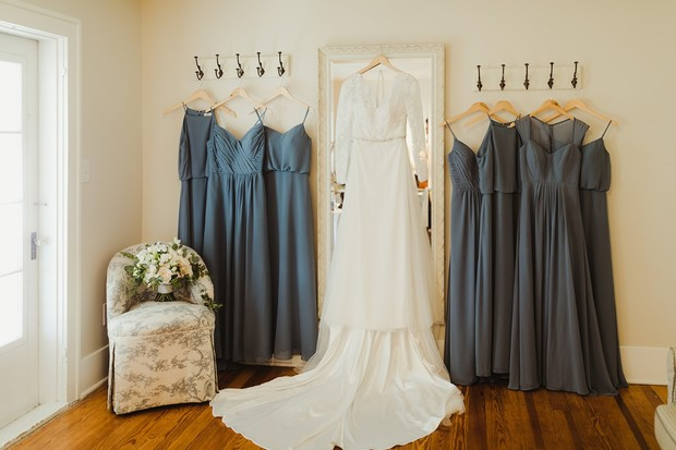 bridal dress and grey bridesmaid dresses