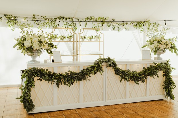 chic white wedding bar