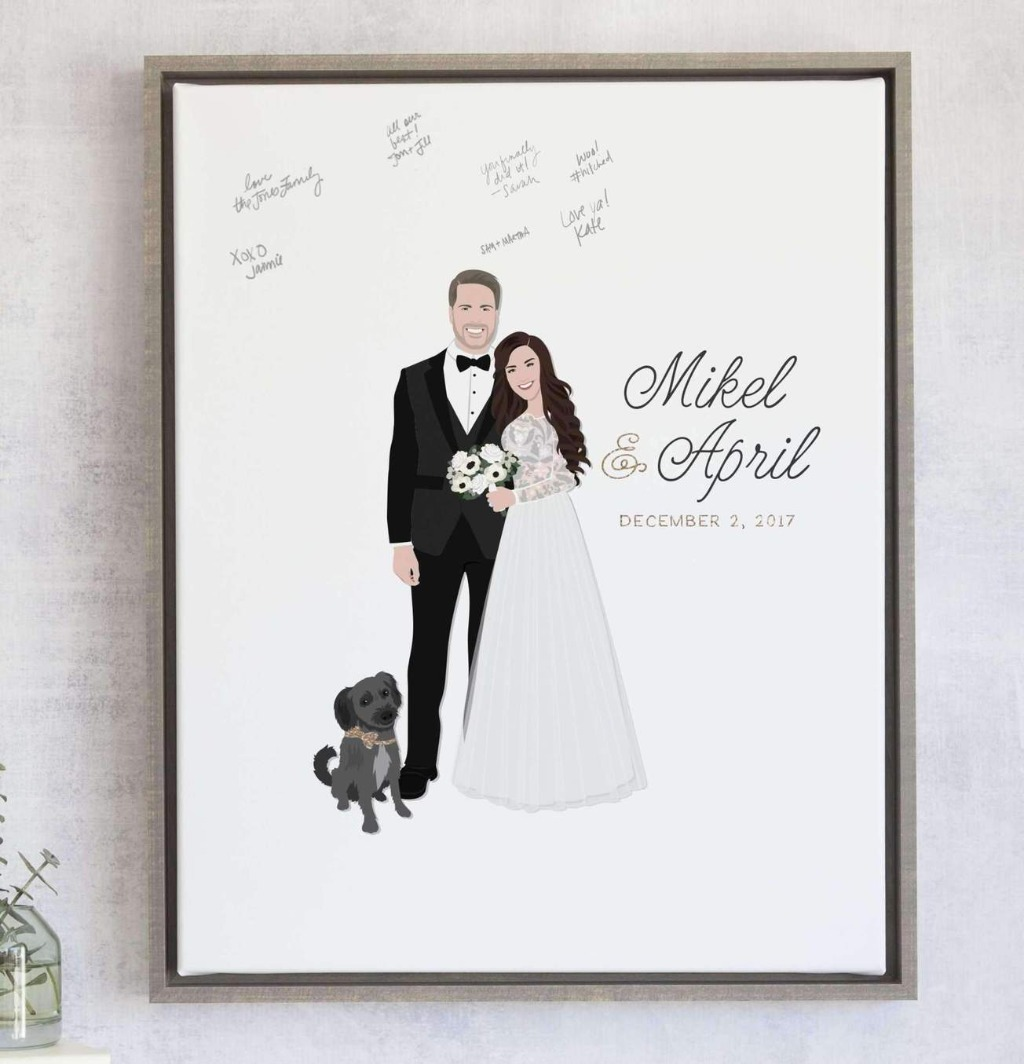 Our most popular guest book alternative is definitely The Penny, which comes with your couple portrait, names, and date! Consider adding
