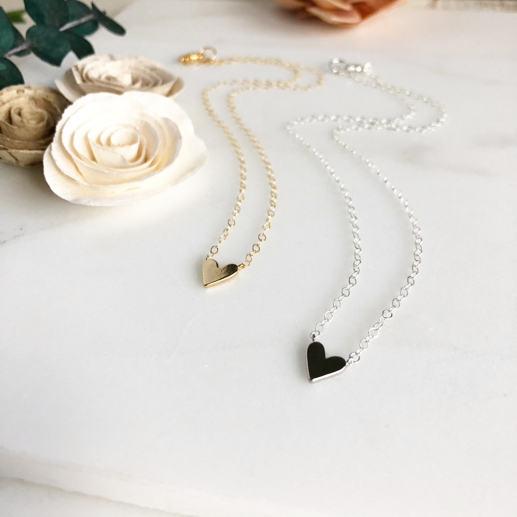 Sweet heart necklaces, available in sterling silver and 14k gold filled chain. Choose your length!