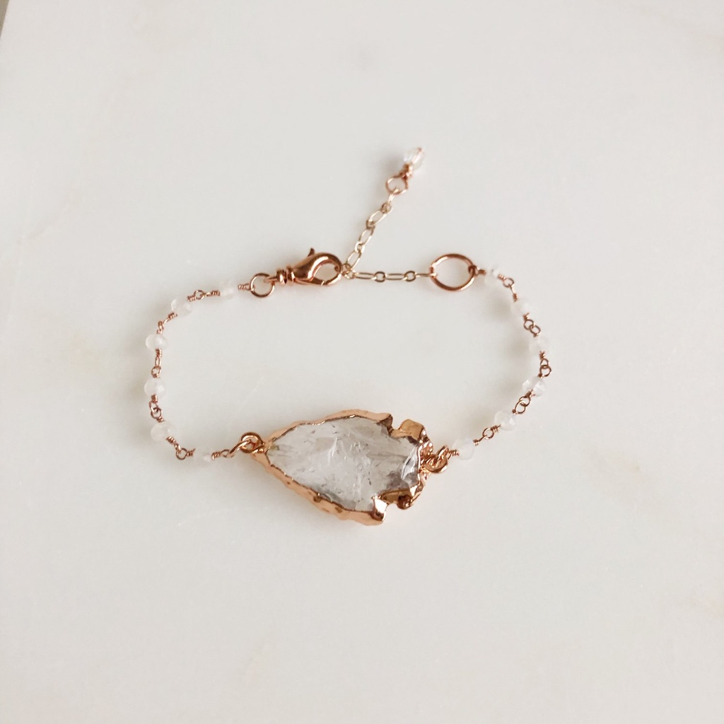 Rose Gold and Clear Quartz Arrowhead Smoky White Beaded Bracelet. 6-8 Adjustable Length.