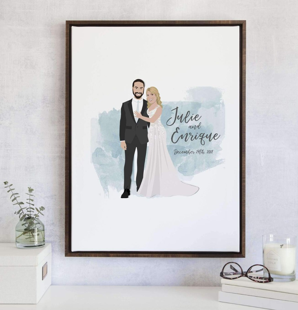 This Limited Edition Wedding Guest Book Alternative with Couple Portrait with Watercolor is the perfect twist to our bestseller The