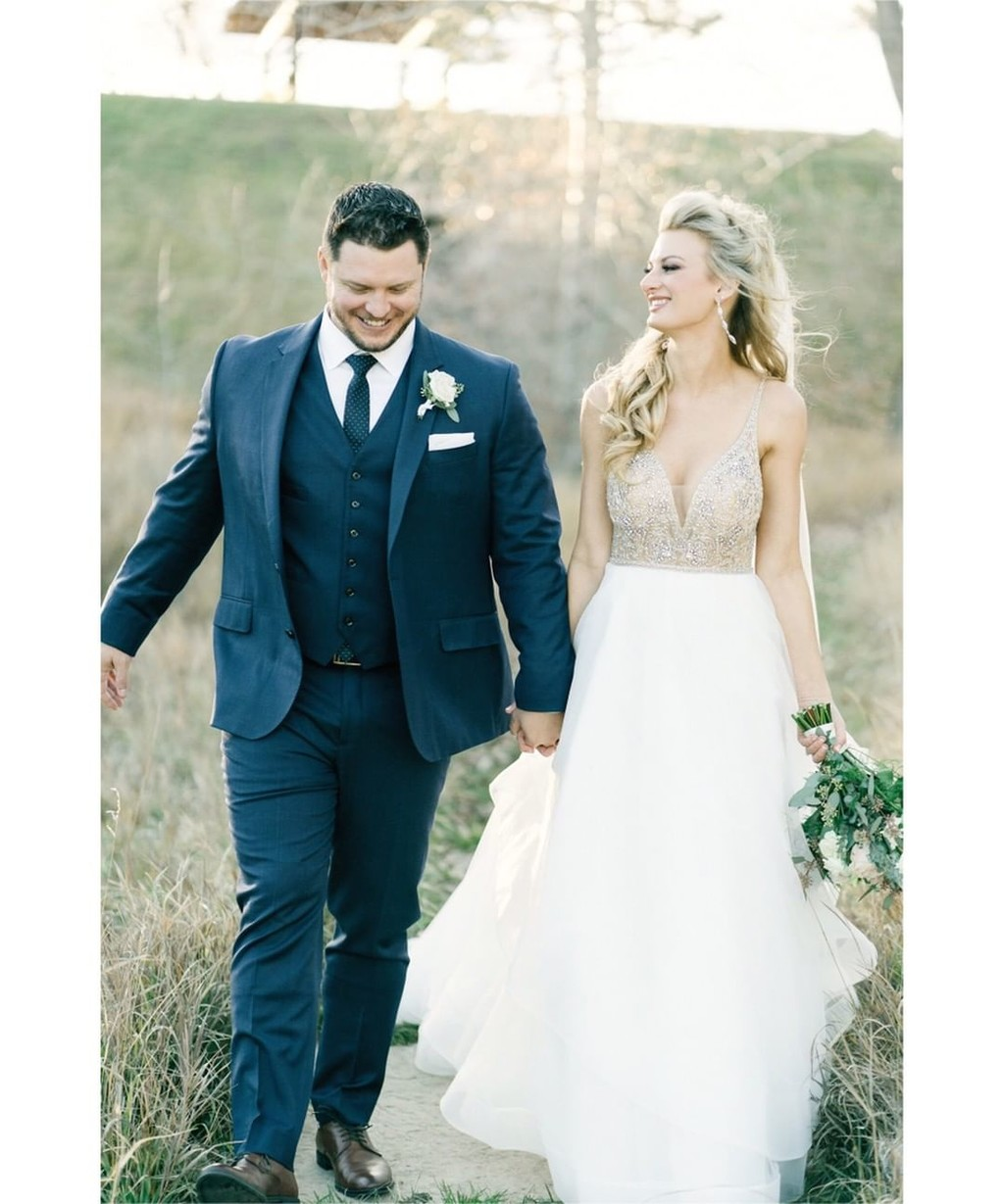 These smiles are the definition of Wedded Bliss! 'Summer' gown number LA8119.