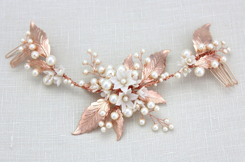 Handcrafted Rose gold Bridal hair vine I created with sprigs of Swarovski pearls and clusters of handmade polymer flowers