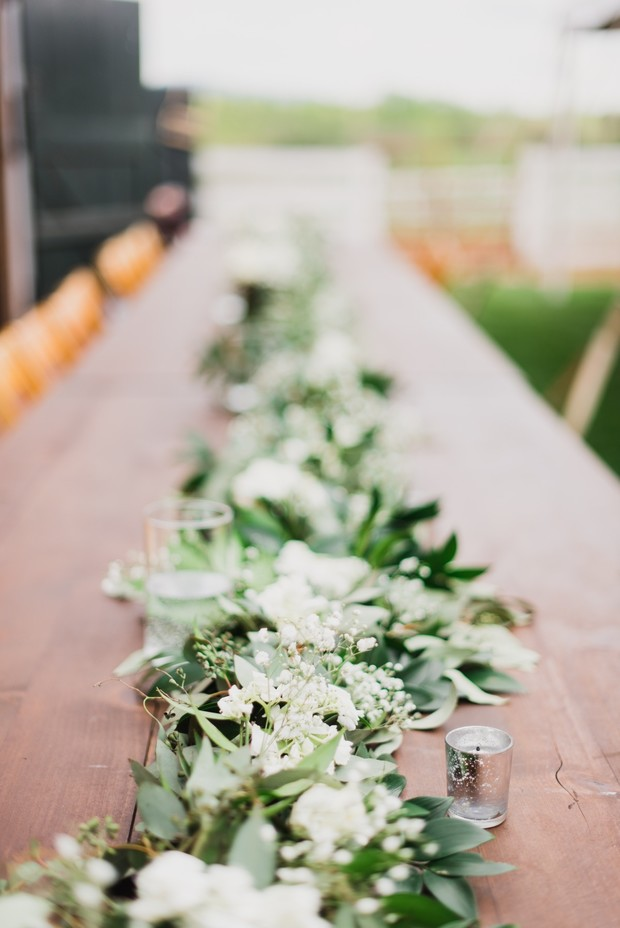 greenery & white flower centerpiece