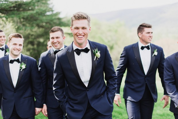navy and black suit groomsmen