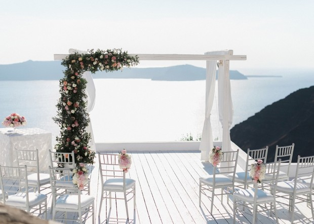 ceremony backdrop with a view in Greece