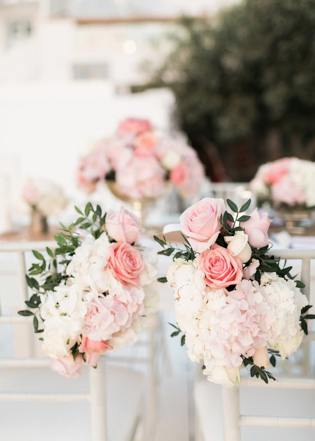bride and groom chair florals