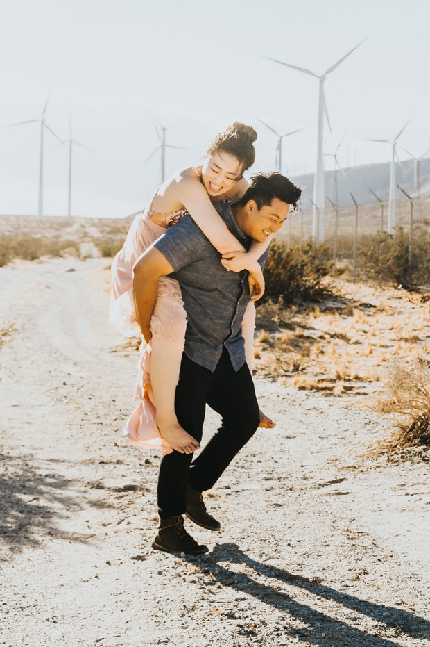 cute piggy back engagement photo